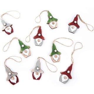 9 Wichtelanhänger kleine Wichtel aus Holz Weihnachtsanhänger Natur grün rot