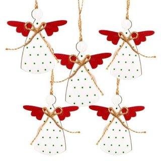 5 Weihnachtsanhänger rot weiß grün Engel aus Holz Holzengel Weihnachtsdeko