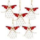 5 Engelanhänger aus Holz rot weiß - Engel mit...