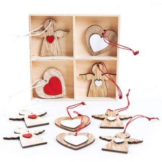 12 Weihnachtsanhänger Engel Herz Natur braun rot weiß Holzengel Holzdeko