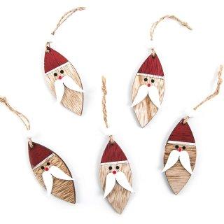 5 Weihnachtsanhänger Nikolaus Weihnachtsmann aus Holz Holzanhänger 8 cm rot weiß natur