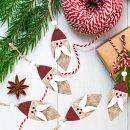 5 Nikolaus Weihnachtsanhänger  aus Holz 8 cm rot weiß natur