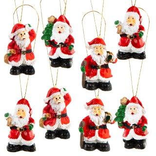 8 kleine Mini Weihnachtsmann Anhänger Nikolaus Figuren mit Schnur
