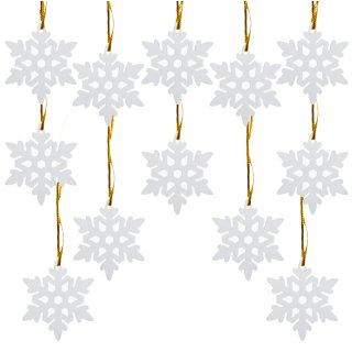 12 Schneeflocken Streuteile aus Holz m. Loch + goldene Schnur z. Aufhängen Streudeko Deko Weihnachten