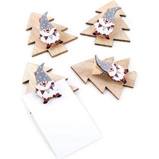 4 Holzklammern Wichtel Tannenbaum Mini Klemmbrett Weihnachtsklammer Weihnachtsdeko