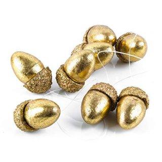 8 kleine Nüsse Eichelnüsse 5 x 3 cm gold als Weihnachtsanhänger Geschenkanhänger Deko