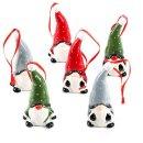 6 kleine Wichtel bunt Weihnachtsanhänger...