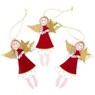 3 große Engelanhänger aus Metall rot gold mit Stern 14,5 cm