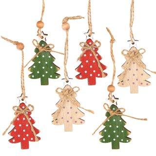 6 kleine Weihnachtsbäume Anhänger Baumschmuck Weihnachten aus Holz rot grün natur