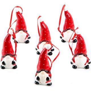6 kleine rote Wichtelanhänger Mini Wichtel zum Aufhängen Wichtelgeschenk Geschenkanhänger Deko