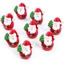 8 kleine Mini Nikolaus Figuren Weihnachtsmann Santa Claus...