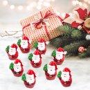 8 kleine Mini Nikolaus Figuren Weihnachtsmann Santa Claus rot weiß  mit Tannenbaum