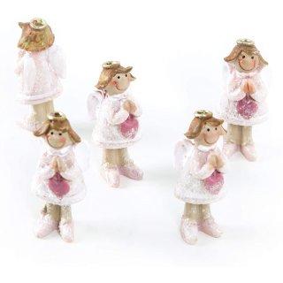 5 kleine Schutzengel Figuren Mini Engel rosa m. Heiligenschein Gastgeschenk Give-Away