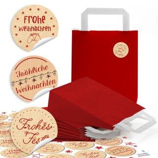 """24 kleine rote Papiertüten Boden Papiertaschen Henkel (18 x 8 x 22 cm) + 24 beige rote Weihnachts-Aufkleber """"Frohe Weihnachten"""""""