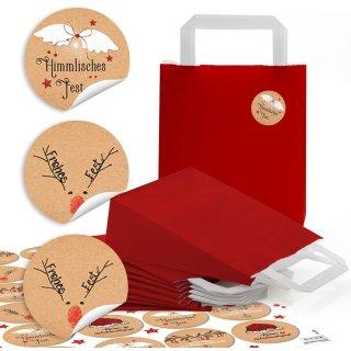 24 kleine rote Papiertüten mit Boden und Henkel (18 x 8 x 22 cm) + 24 runde Aufkleber mit 4 cm Durchmesser