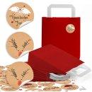 24 kleine rote Papiertüten mit Boden und Henkel (18...