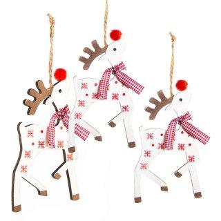 3 süße Weihnachtsanhänger für den Baum: rot weiß gepunktete Rentiere aus Holz 13 cm