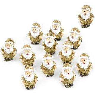 12 Mini Nikoläuse Gold glitzernd kleine Weihnachtsmann Figuren mit Glitzer Deko Weihnachten