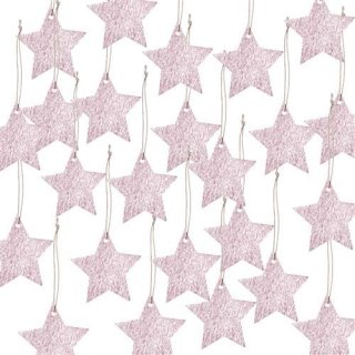 24 Sternanhänger aus Papier rosa schraffiert - Sterne Anhänger Weihnachtsanhänger