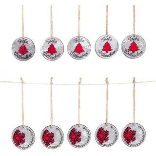 10 kleine Weihnachtsanhänger grau rot rund mit Text Frohe Weihnachten