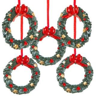 5 kleine Kranz Weihnachtsanhänger rot grün - Mini Weihnachtskranz zum Aufhängen 6 cm