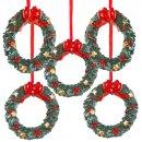 5 kleine Kranz Weihnachtsanhänger rot grün -...