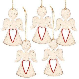 5 Engelanhänger weiß rot 8 cm - Engel zum Aufhängen Shabby Chic