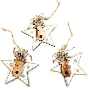 3 Weihnachtsanhänger Sterne mit Rentier gold braun natur 11,5 - Deko Weihnachten