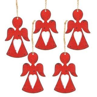5 weihnachtliche Engel Anhänger aus Metall rot - Schutzengel zum Aufhängen