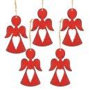 5 weihnachtliche Engel Anhänger aus Metall rot -...