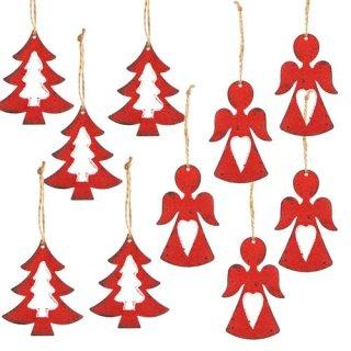 Weihnachtsanhänger Set - 5 Engel + 5 Bäume rot aus Metall - Geschenkanhänger Weihnachten