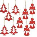 Weihnachtsanhänger Set - 5 Engel + 5 Bäume rot...