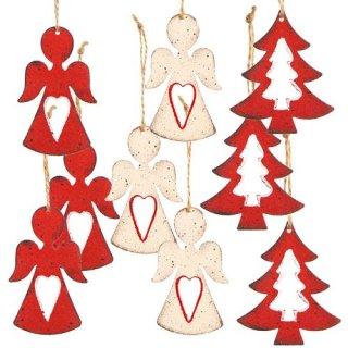 3 x 5 Weihnachtsanhänger - Engel + Baum rot weiß Shabby Chic - Vintage Christbaumanhänger