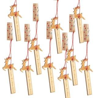12 Weihnachtsklammern mit Anhänger Baum + Hirsch aus Holz - Frohe Weihnachten Dekoklammern natur