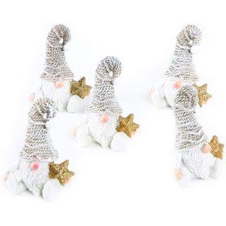 5 kleine Wichtelfiguren weiß braun mit goldenem Stern + Glitzer Zipfelmütze 7 cm