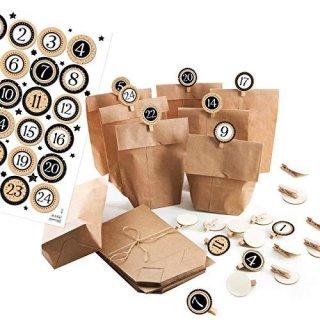 24 Adventskalender Papiertüten z. Befüllen Set: Tüten + 1 bis 24 Aufkleber + KLAMMERN – schwarz weiß braun Vintage
