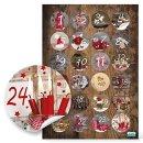 DIY Adventskalender zum Befüllen Set: 24 Papierbeutel + 1-24 Aufkleber + Klammern Vintage braun Fotomotive