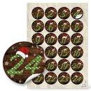 24 Adventskalender z. Befüllen Set: Papiertüten + 1-24 Aufkleber + KLAMMERN rot grün braun basteln DIY