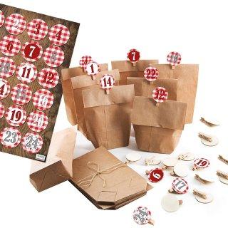 24 Adventskalender Papiertüten z. Befüllen Set Papierbeutel + 1-24 Aufkleber + Klammern rot weiß kariert