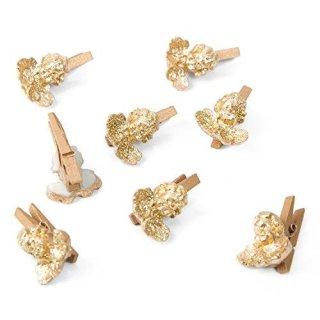 8 kleine Mini Klammern Engel Gold Glitzer Engelklammern 3 cm Zierklammern Dekoklammern Holz