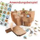 24 Adventskalenderzahlen f. DIY Adventskalender: Aufkleber + Holzklammern rund 4 cm bunt für Kinder