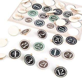 1-24 Zahlen Sticker zum Adventskalender basteln: Aufkleber + Holzklammern Holz Scheibe 4 cm Aufkleben beige grün