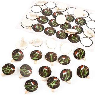 1 bis 24 Nummern zum Adventskalender basteln: Aufkleber + Holzklammer rund 4 cm rot grün gepunktet