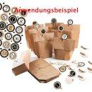 Adventskalenderzahlen Klammern - 24 Aufkleber mit Zahlen + Holzklammern - gold schwarz weiß