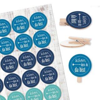 24 Aufkleber Schön, dass du da bist + 24 runde Holzklammern - blau türkis weiß maritime Tischdeko Hochzeit Taufe