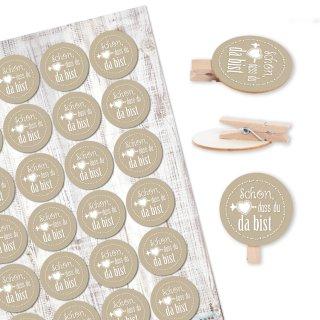 24 Klammern aus Holz + 24 runde Sticker Schön, dass du da bist - beige creme - Deko Give-Away Hochzeit