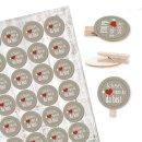 24 Klammern aus Holz + 24 runde Sticker Schön, dass...