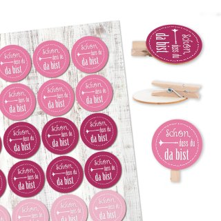 24 runde Holzklammern + 24 Sticker Schön, dass du da bist rosa pink - Give-Away Taufe Kommunion Mädchen