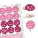 24 runde Holzklammern + 24 Sticker Schön, dass du da...