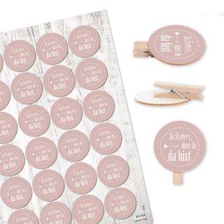 24 Klammern aus Holz natur + Aufkeber Schön dass du da bist - rosa - Give-Away Gastgeschenk Deko Hochzeit